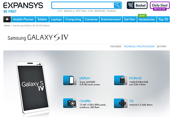 Expansys Leaked Galaxy S4 images