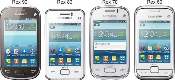 Samsung Rex 90, Rex 80, Rex 70 and Rex 60 dual-SIM phones